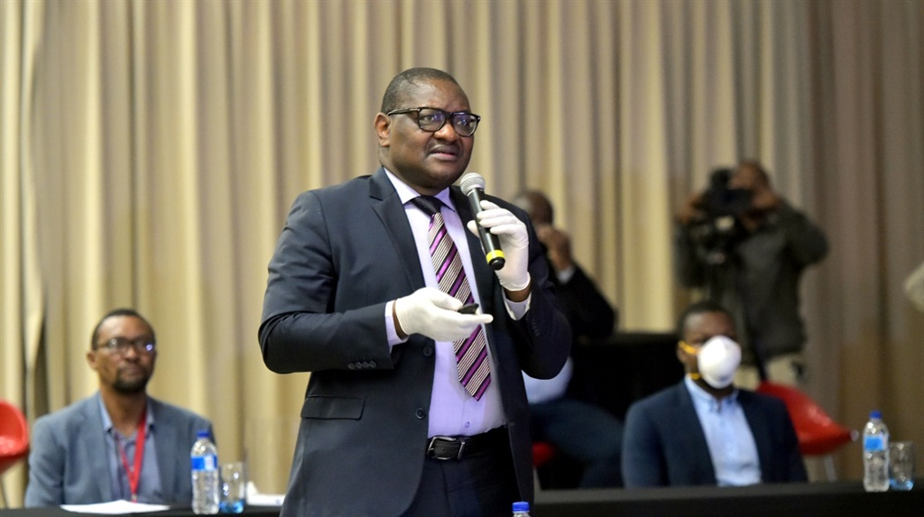 Gauteng Premier David Makhura during a provincial Covid-19 presentation. (@GovernmentZA/Twitter).