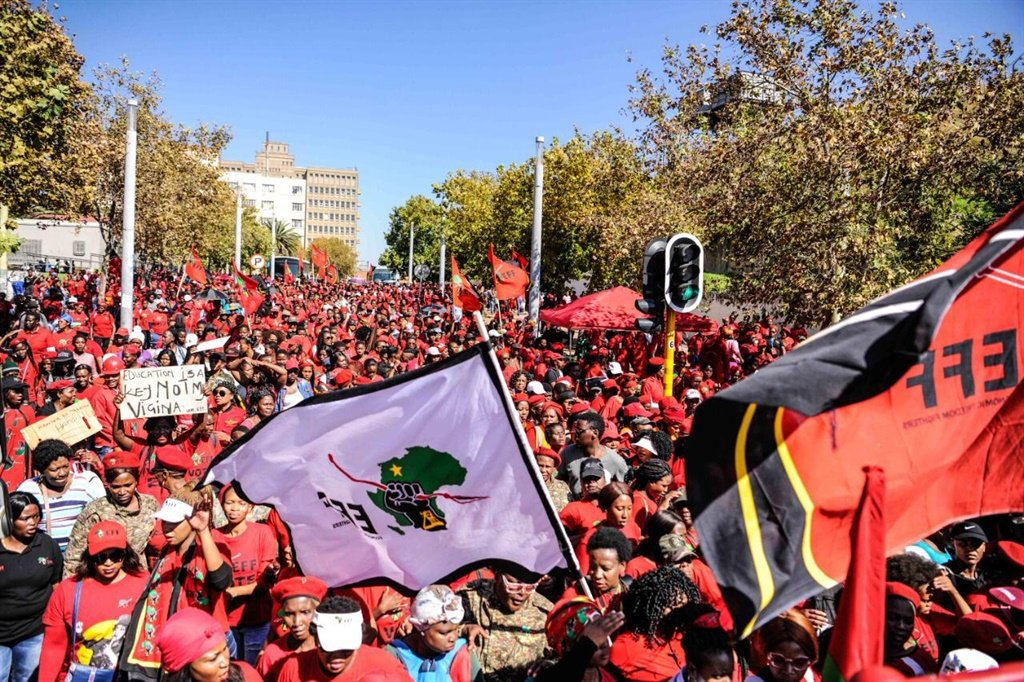 eff, economic freedom fighters, march, women, cons