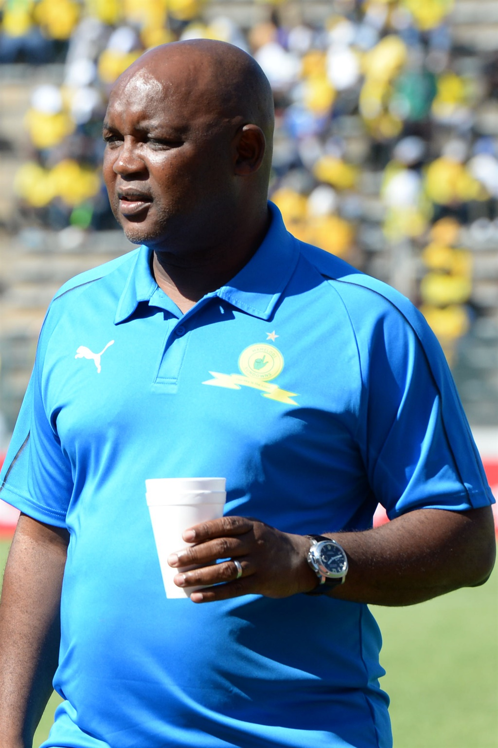 Pitso Mosimane is seldom seen without his match-day coffee. Picture: Lefty Shivambu / Gallo Images