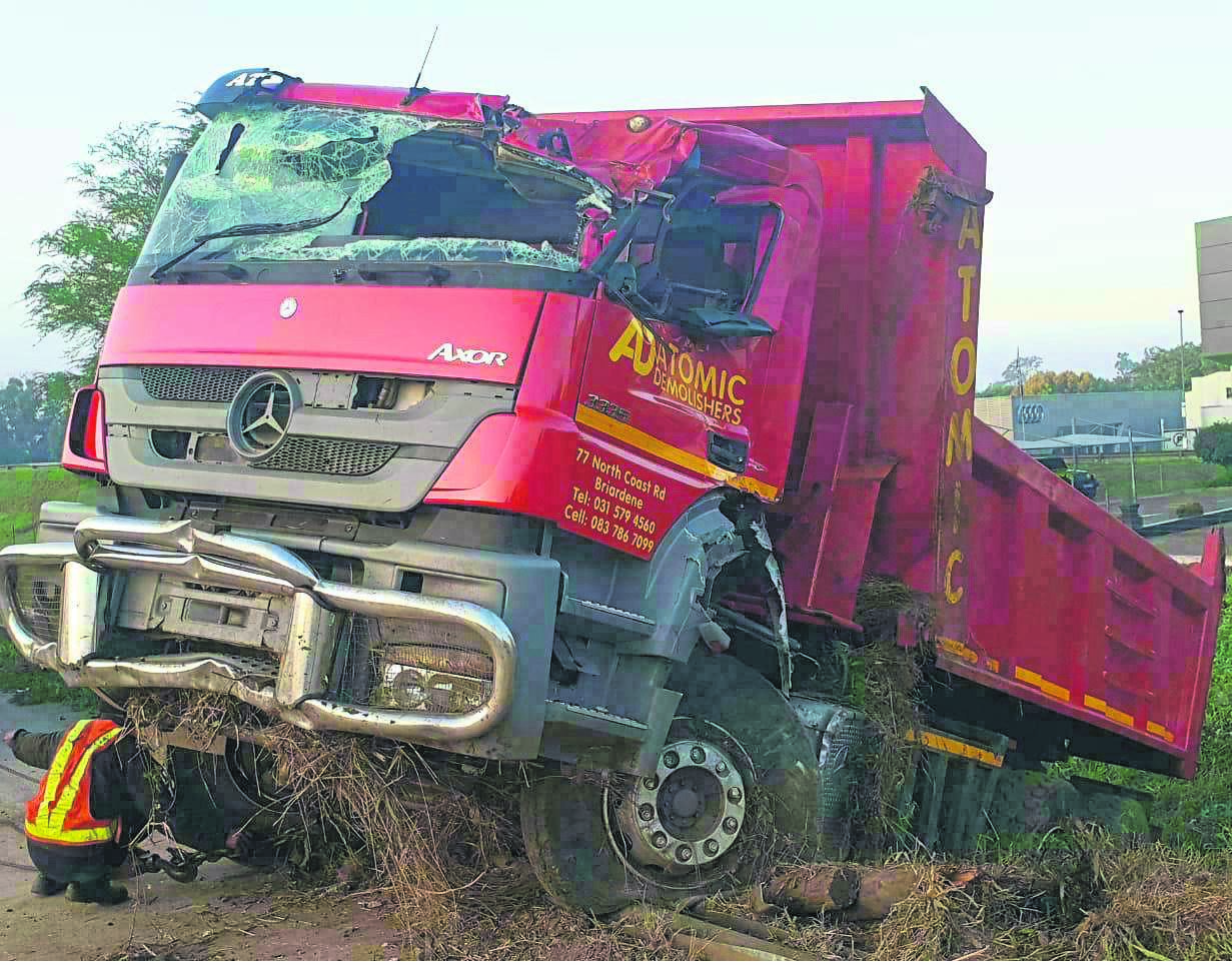 The truck that Burnard Mbambo was travelling in when he died after a rock was thrown at it.