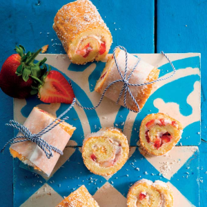 Gluten-free strawberry swiss rolls cover with desiccated coconut (PHOTO: Drum)