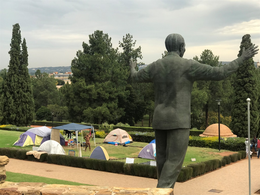 The Khoisan kraal at the Union Buildings in Pretoria with Chief Khoisan SA in the background. (Alex Mitchley, News24)