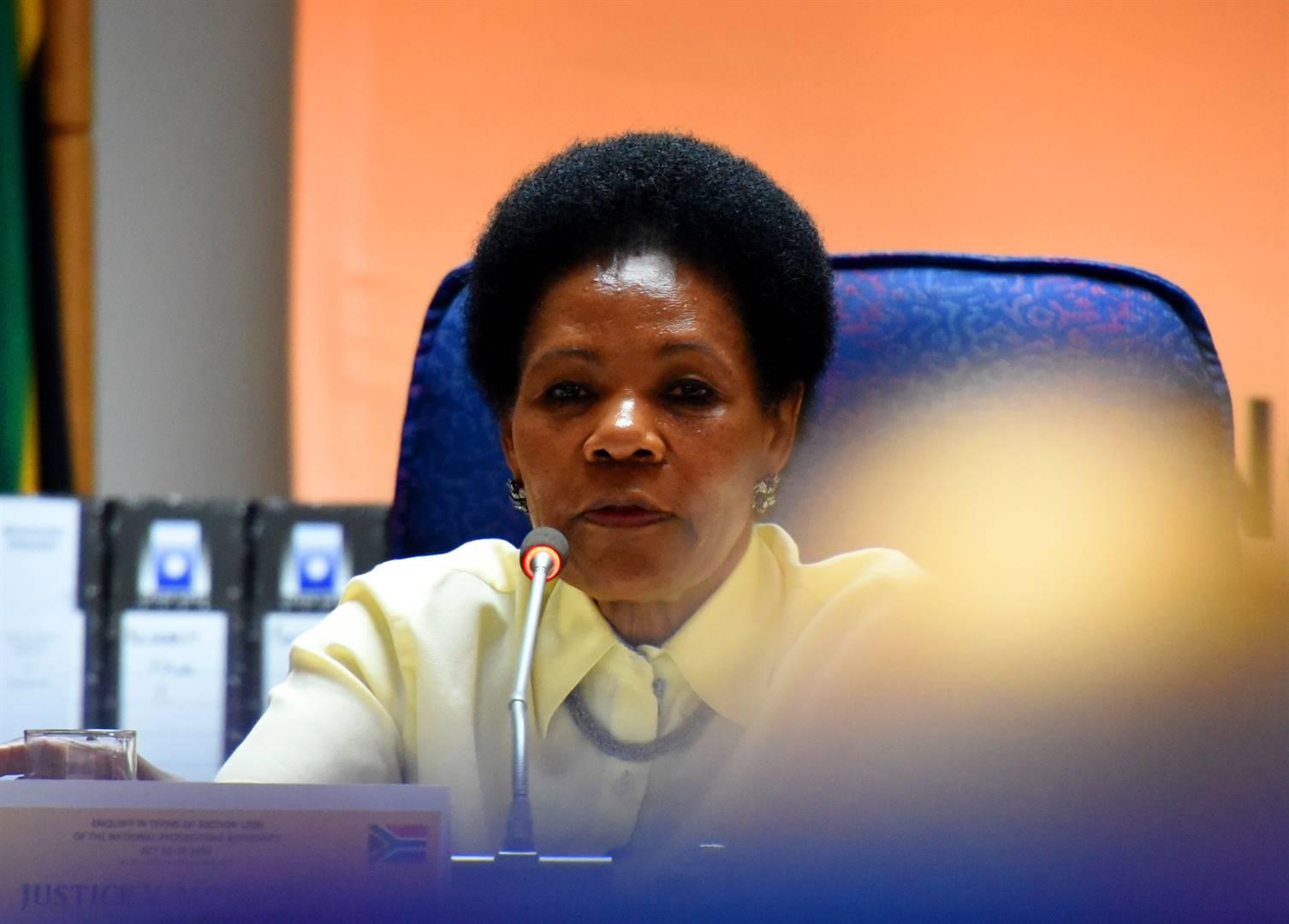 Justice Yvonne Mokgoro during the Mokgoro Enquiry in Centurion. Picture: Tebogo Letsie