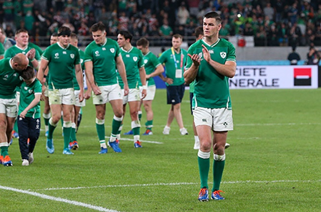 Johnny Sexton of Ireland acknowledges the crowd after the Rugby World Cup quarter-final against New Zealand at the Tokyo Stadium on 19 October 2019 (Photo by Craig Mercer/MB Media/Getty Images)