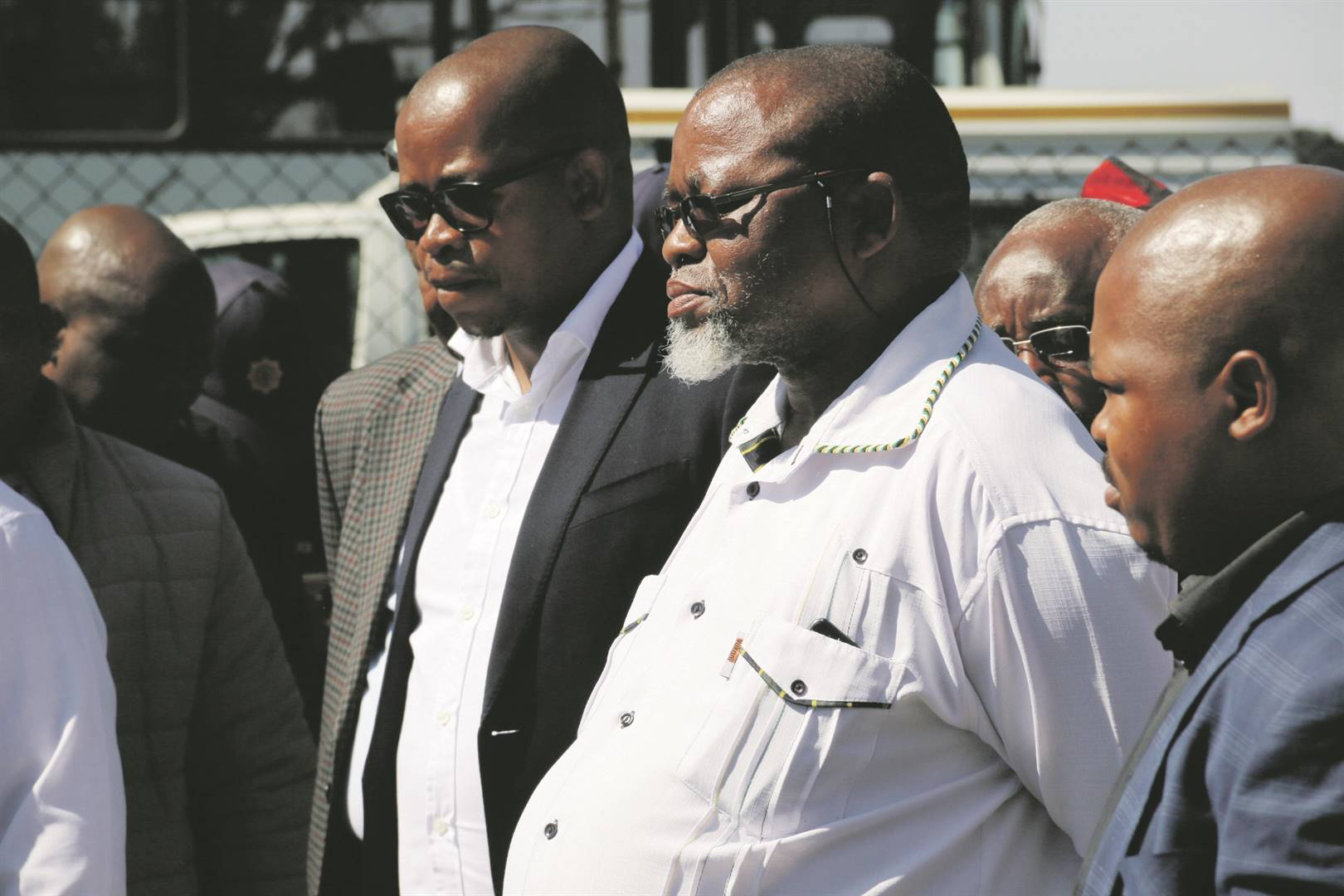 Mineral Resources Minister Gwede Mantashe, right, and the department's director-general, Thabo Mokoena, at Exxaro Arnot Colliery. Pictures: Ndileka Lujabe