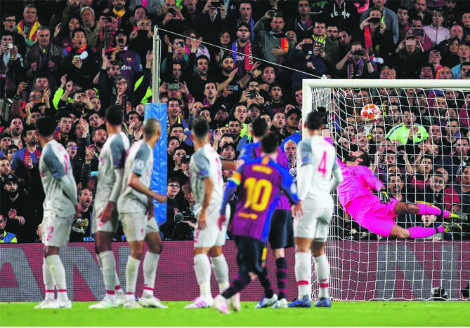 Iconic: Lionel Messi scores his 600th goal with a scintillating free-kick lauded the world over. Picture: Robbie Jay Barratt / Getty Images