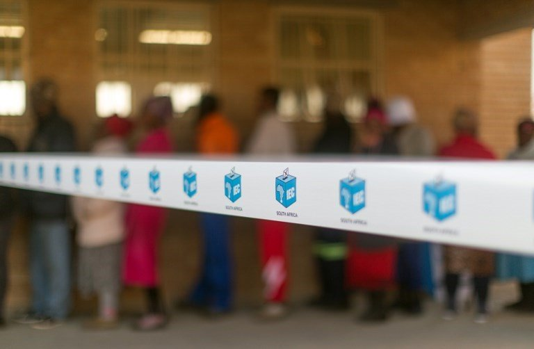 IEC tape around a voting station.
