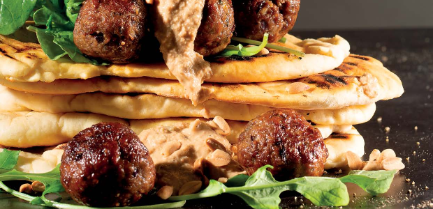 Meatballs with crunchy peanut butter sauce and fla