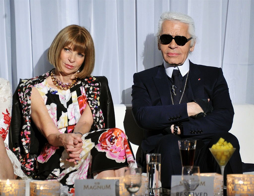 NEW YORK, NY - APRIL 21: Anna Wintour (L) and Kar