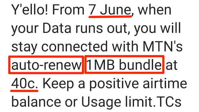 MTN auto-renew 1MB data bundle message