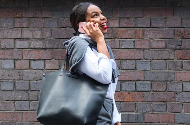 Woman holding handbag
