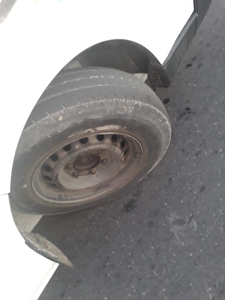 The worn wheel of a taxi that was pulled over on Tuesday. (Supplied)