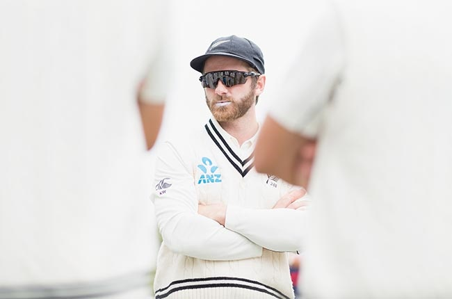 New Zealand captain Kane Williamson of New Zealand speaks to his team-mates prior to Day 3 of the second Test against India at Hagley Oval in Christchurch on 2 March 2020.