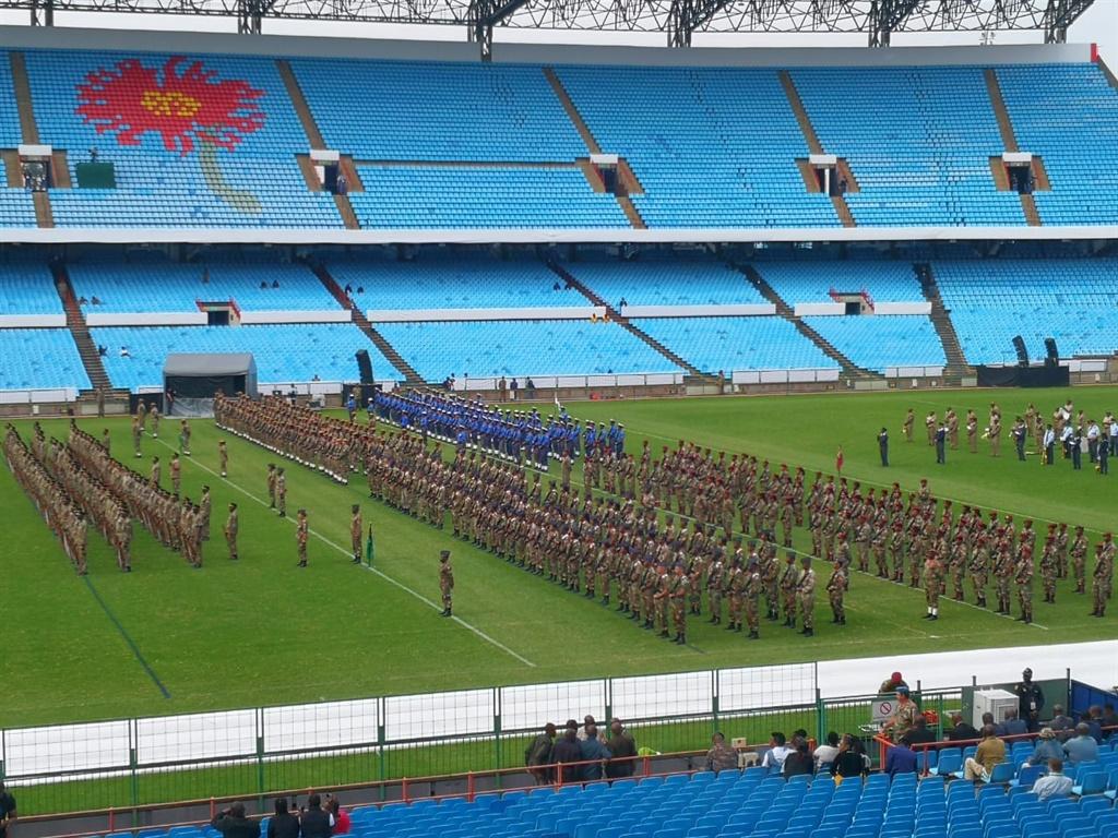 Preparations underway at Loftus Versfeld stadium ahead of Cyril Ramaphosa's inauguration. (Sharlene Rood, News24)