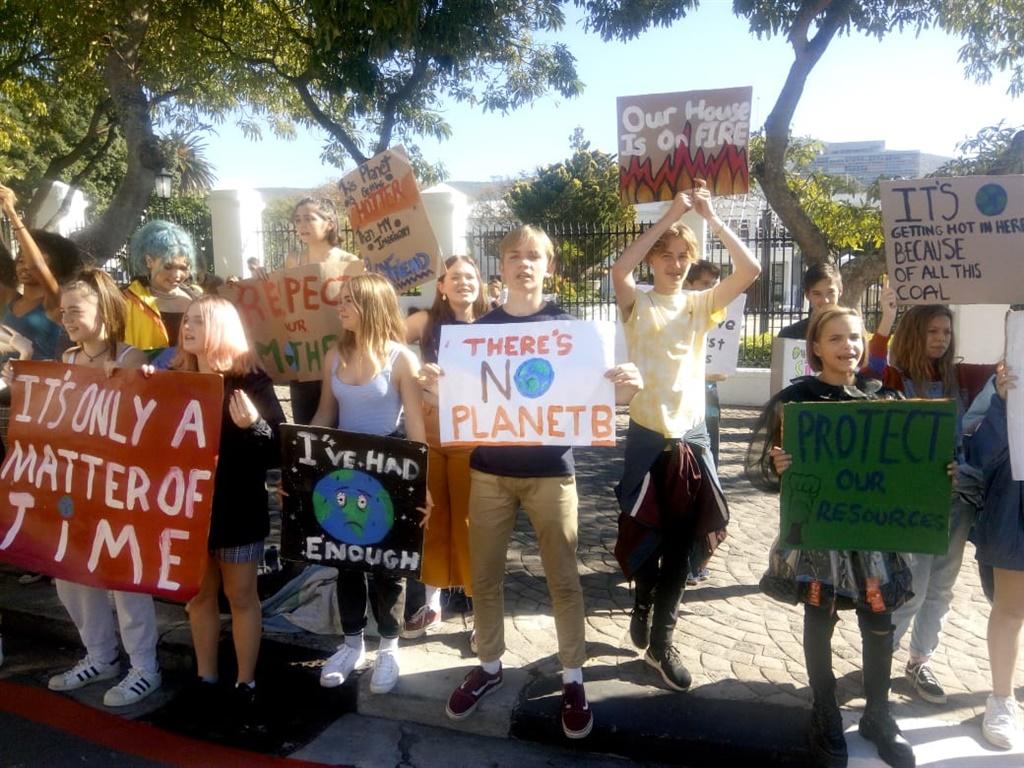 Schoolchildren protest to draw attention to climate change. (Ethan Van Diemen, News24, file)