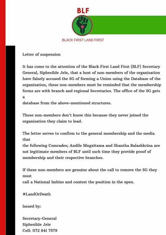 politics,black land first,south africa,blf,andile
