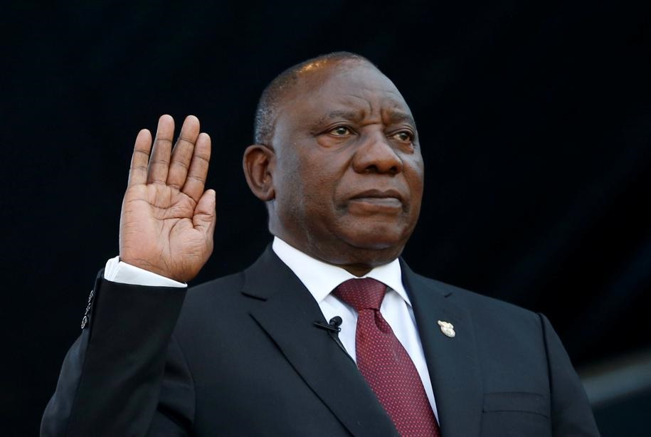 Cyril Ramaphosa at his inauguration ceremony where he took the oath of office. Picture: Reuters