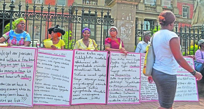 Local grannies picketed in front of the provincial legislature last year calling for government to increase their pension grant to match the monthly national minimum wage. PHOTO: Nokuthula Ntuli