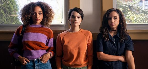 Quintessa Swindell, Brianna Hildebrand, Kiana Madeira in a scene from 'Trinkets'. (Allyson Riggs/Netflix)