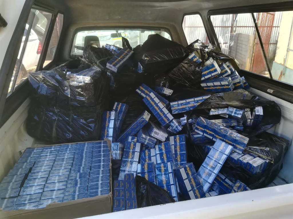 Illicit cigarettes confiscated by police.