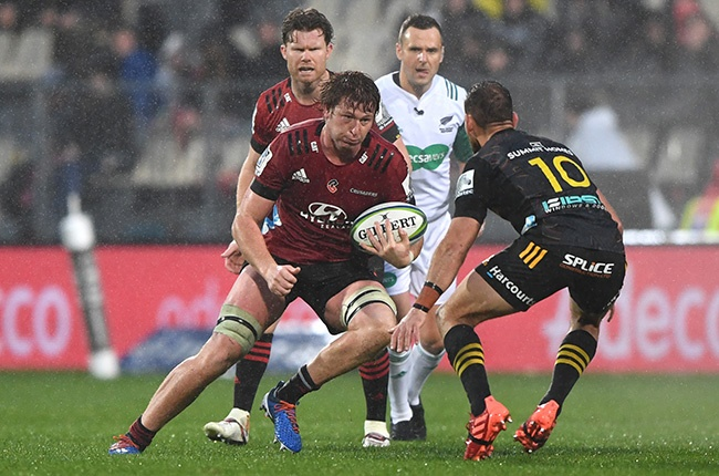 Cullen Grace of the Crusaders charges forward during the Round 3 Super Rugby Aotearoa match against the Chiefs in Christchurch on 28 June 2020.