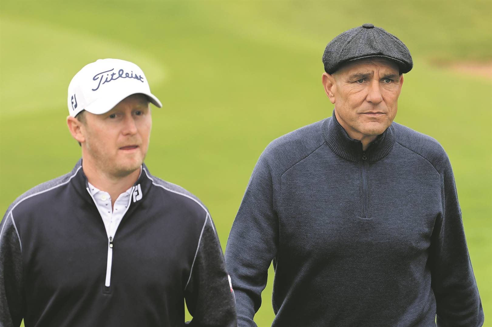 Justin Harding and Vinnie Jones have formed a tight bond while playing golf. Picture: Ross Kinnaird / Getty Images