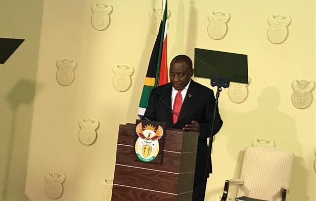 President Cyril Ramaphosa announcing his new Cabinet. (Lizeka Tandwa, News24)