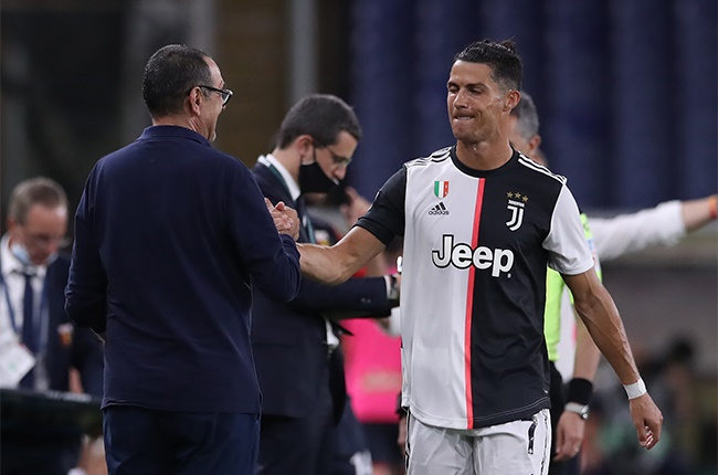 Juventuss Italian Head coach Maurizio Sarri compliment Portuguese striker Cristiano Ronaldo as he is substituted during the Serie A match between Genoa CFC and  Juventus at Stadio Luigi Ferraris on June 30, 2020 in Genoa, Italy.