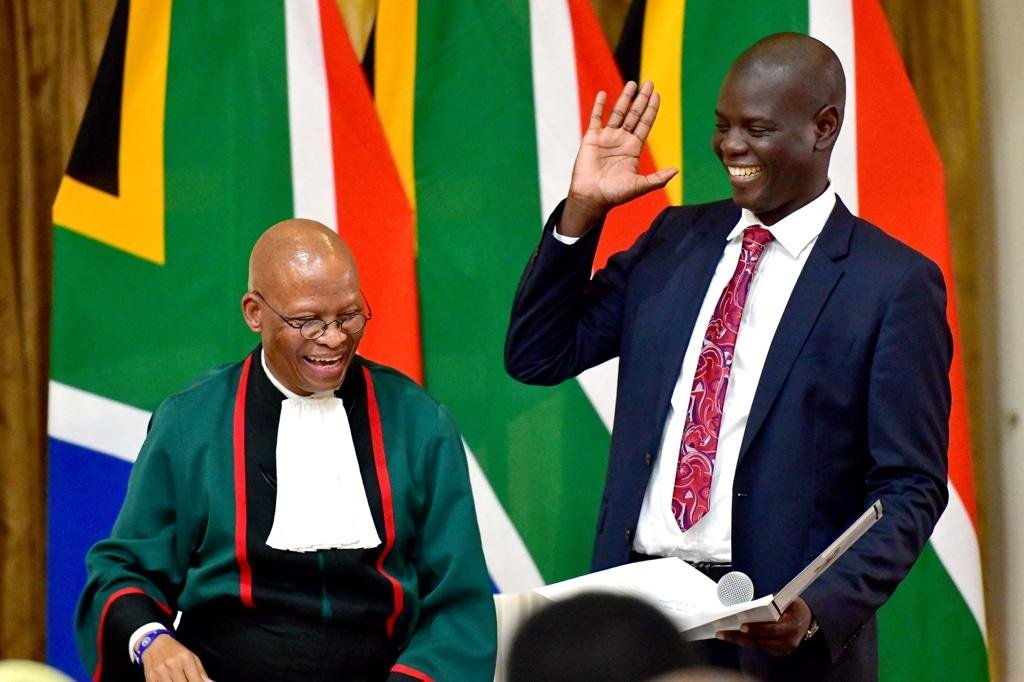 Ronald Lamola is sworn in as Minister of Justice and Correctional Services by Chief Justice Mogoeng Mogoeng.