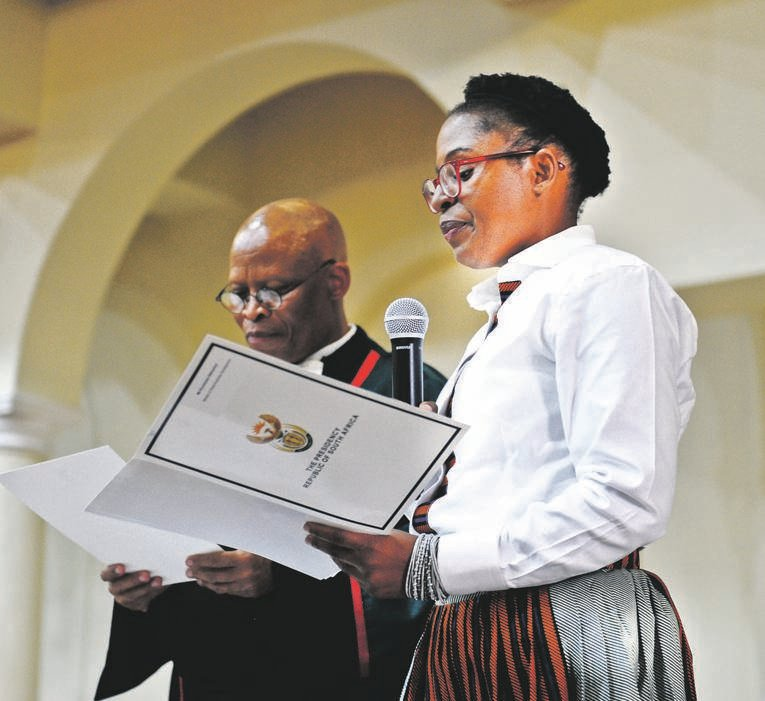 Khumbudzo Ntshavheni at her swearing in as an MP by chief justice  Mogoeng Mogoeng. Picture: Cebile Ntuli