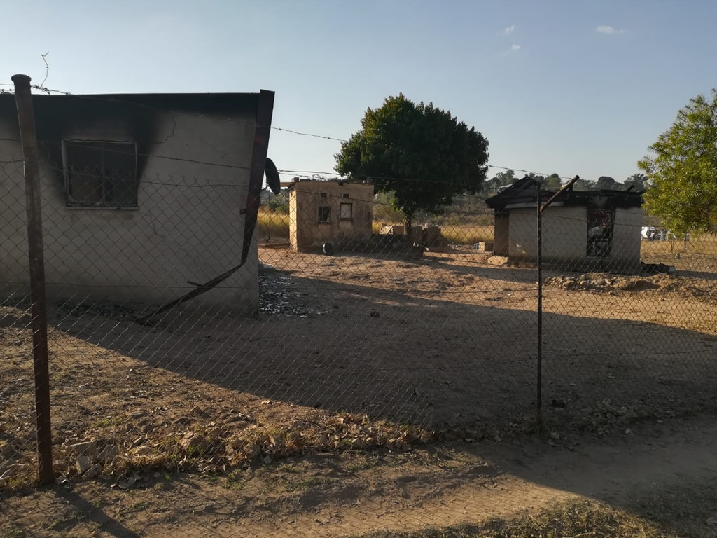 Three houses that were set alight in a suspected mob justice attack in Limpopo (Supplied)