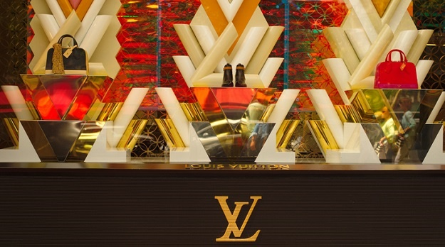 Paris, France - May 24, 2015 : Louis Vuitton window display shop at Champ Elysee Avenue in Paris, France.