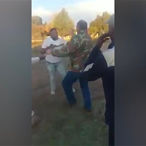 Tshepiso Tlhabanelo gets into an altercation with a farm owner in the North West. (Screengrab)