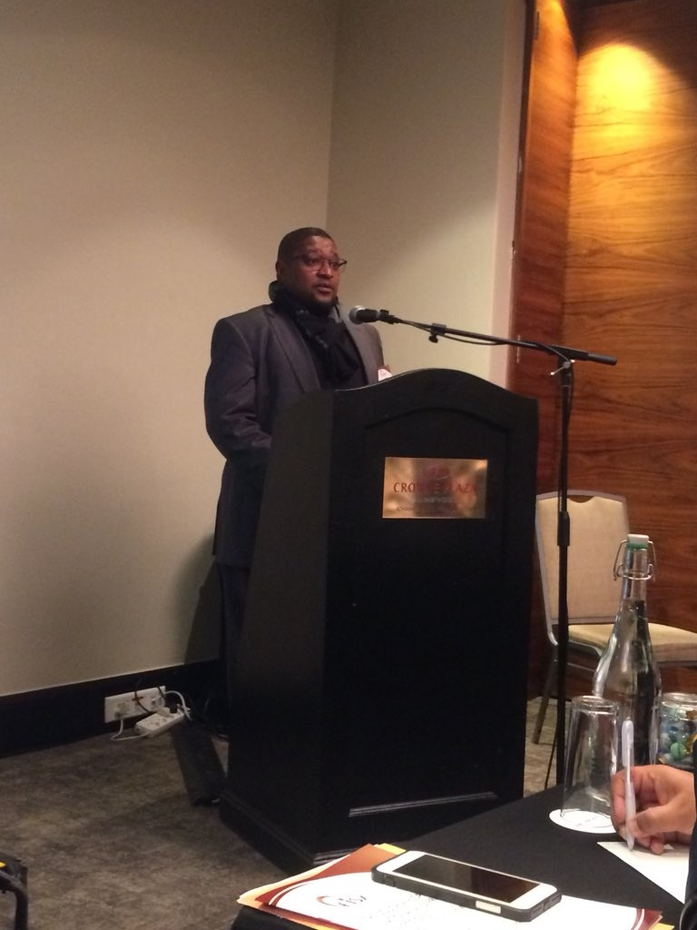 Electoral Commission of South Africa (IEC) chairperson Glen Mashinini speaking at the EISA post-election review seminar. (Supplied, EISA Twitter)