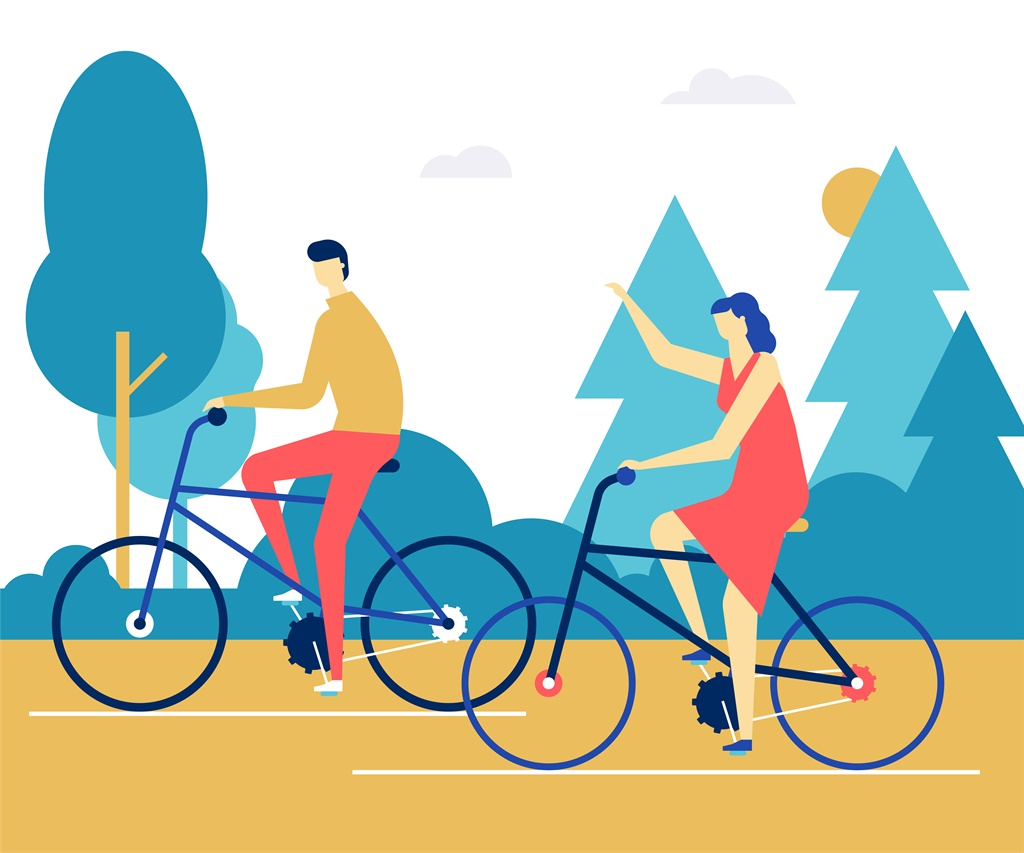 Couple cycling - flat design style colorful illust