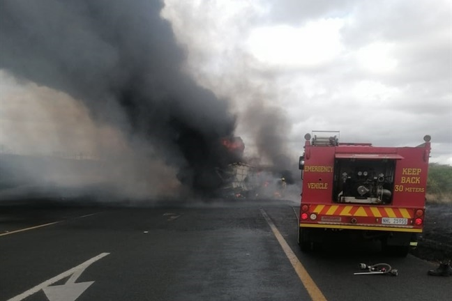 A serious accident involving several heavy motor vehicles and at least one light motor vehicle caused a blaze on the N2 in Hluhluwe, about 40km from Lake St Lucia, in KwaZulu-Natal.
