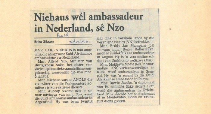 Niehaus became ambassador to The Netherlands.