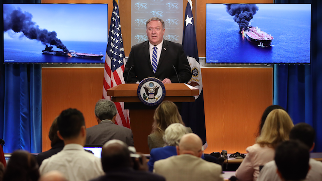 U.S. Secretary of State Mike Pompeo speaking on the attacks on oil tankers in the Gulf of Oman. (Photo by Win McNamee/Getty Images)