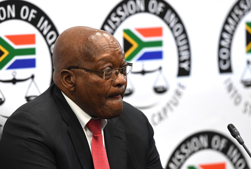 Former president Jacob Zuma testifying at the Commission of inquiry into state capture in Parktown. (Felix Dlangamandla, Netwerk24)