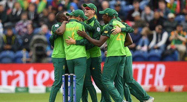 The Proteas celebrate a wicket against Afghanistan