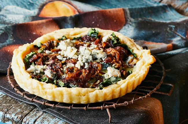 Caramelised onion and blue cheese quiche. (PHOTO: Jacques Stander)