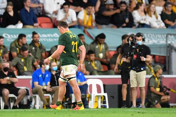 Jasper Wiese verlaat die veld nadat hy 'n geelkaart teen die Wallabies gekry het. Foto: Getty Images