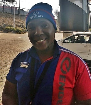 Petrol attendant Welcome has been praised on social media for his generous act. (Supplied)