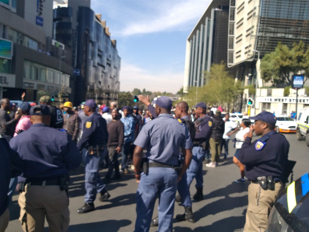 Police deployed during the #AlexTotalShutdown protests.