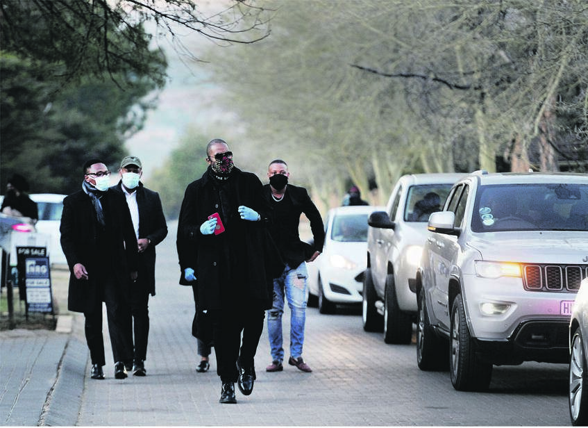 Ndaba Mandela, followed by other members of the Mandela family, arrives at Fourways Memorial Park for the burial of Zindzi Mandela a fortnight ago. Picture: Tebogo Letsie/City Press