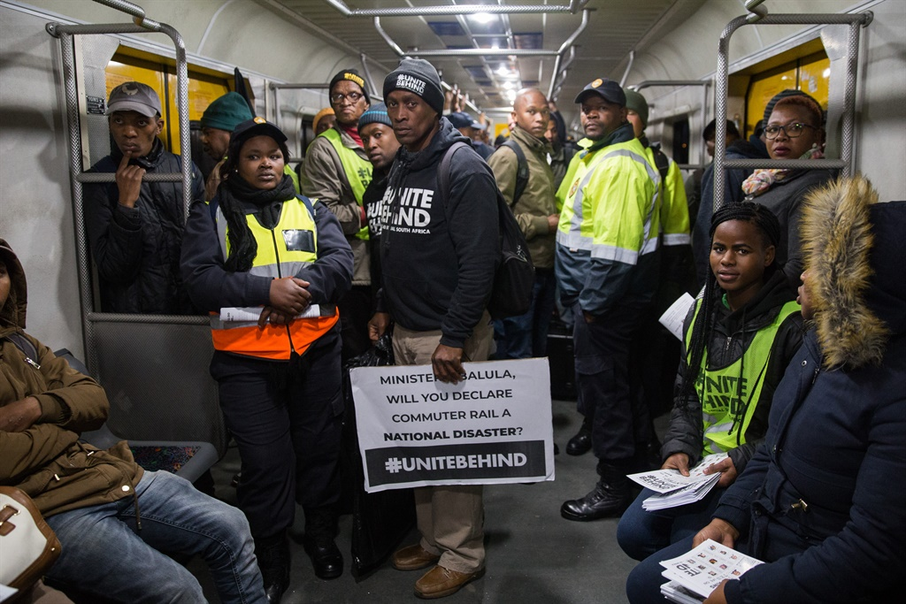 Members of #UniteBehind on Tuesday morning told Minister of Transport Fikile Mbalula what they want him to do to fix Metrorail. (Ashraf Hendricks, GroundUp)