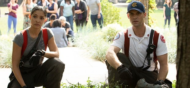 Jesse Spencer and Miranda Rae Mayo in a scene from