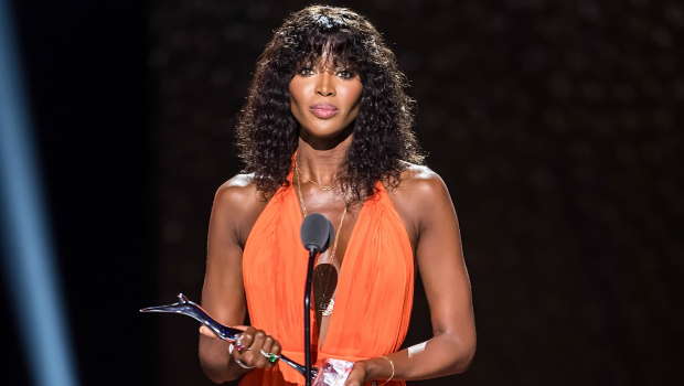 Model and Black Girl Magic Award Award recipient Naomi Campbell speaks on stage during the 2018 Black Girls Rock! Photographed by Gilbert Carrasquillo