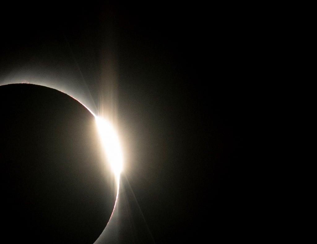 Solar eclipse as seen from the La Silla European Southern Observatory (ESO) in La Higuera, Coquimbo Region, Chile. (Martin Bernetti, AFP)