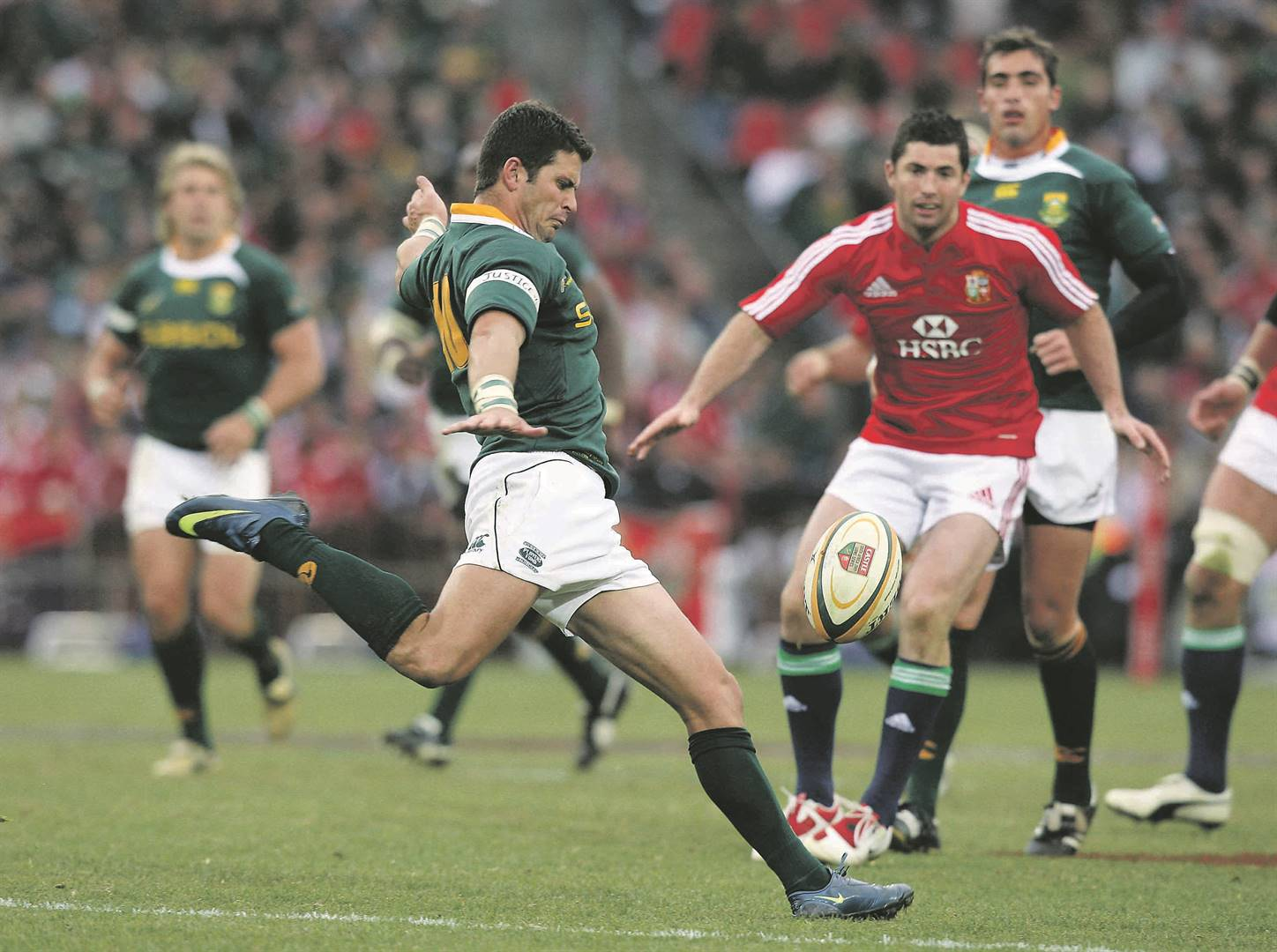 Morné Steyn of SA kicks the ball upfield during the third test match against the British and Irish Lions in 2009 Picture: David Rogers / Getty Images